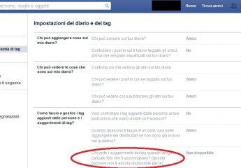 Facebook: disattivare i suggerimenti per i tag foto